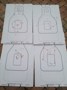 "15 yards: (Clockwise from bottom left) Back bored, Rem Cylinder, Vang Comp, Back Bored 2"" from muzzle, Rem Improved Cylinder"