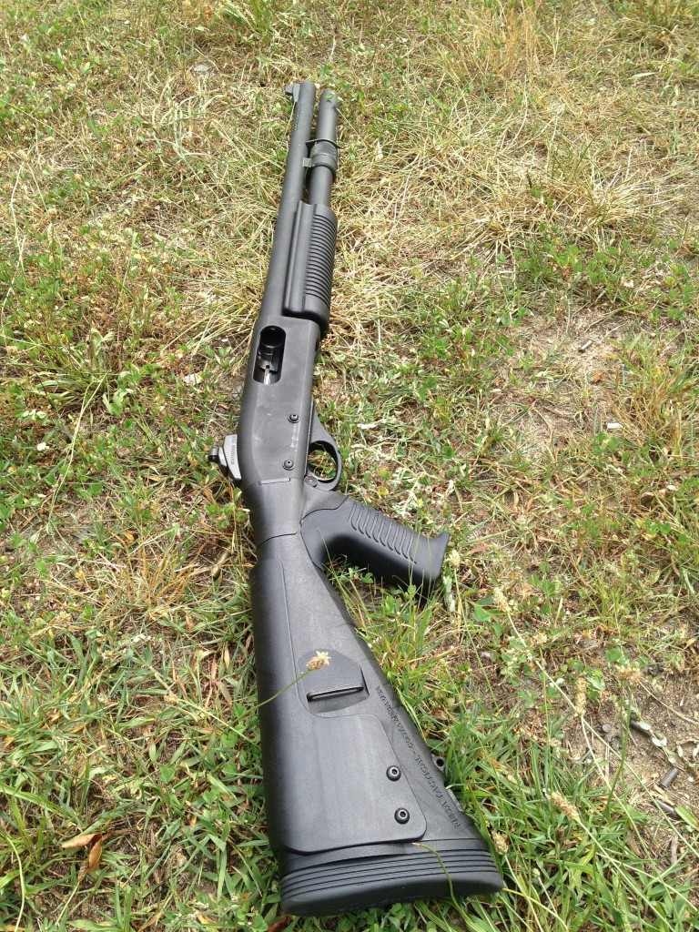 A Remington 870 Police Magnum Equipped witH Scattergun Technologies ghost ring sights- our preferred combination