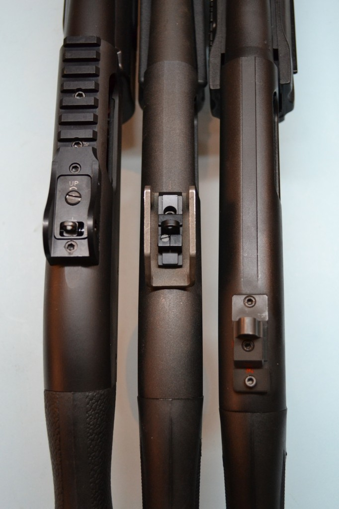 Vang Comp Systems (left), Sage International (center) and Scattergun Technologies (right).  Note the relative placement of each sight on the receiver.