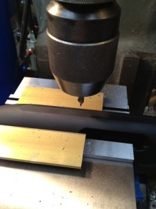 At the location of the first hole, we use a #2 carbide center drill to start the hole for the #19 drill bit.