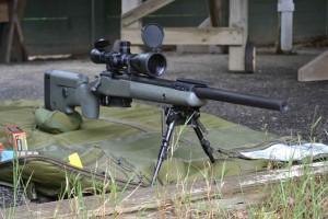 Our custom 308 rifle on the firing line.