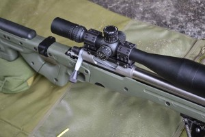 The straight bolt handle and helical flutes give this rifle a slick appearance.