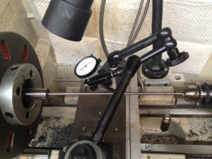 "The bore is dialed, initially using the .001"" dial indicator, and followed with the .0001"" indicator.  Our TIR was less then .0001"" in this case."