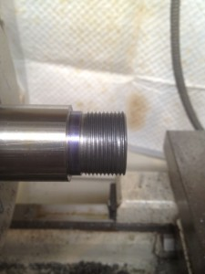 The threads are then cut to depth on the lathe.