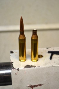 Here is our magazine length dummy round and a new piece of Lapua brass.