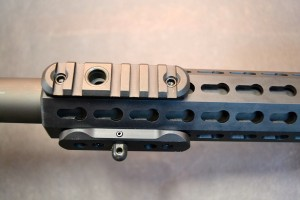 The modular forend allows different rail section to be placed at any position along the rail.  The section are available as a rail with QD attachment point (top), QD stud for mounting a bipod (bottom of rail) and rail section (not shown).