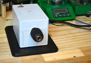 The Sinclair Power Center  's small footprint, only takes up a little space on the reloading bench.