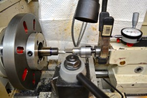 "The bolt nose recess is cut using a .705"" piloted counter bore.  The depth of cut is determined using the dial indicator located on the lathe tailstock."