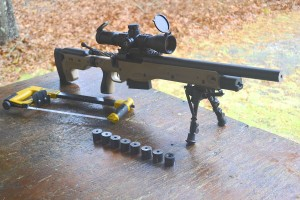 The rifle, hacksaw and barrel sections.