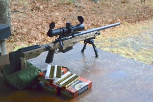 "Remington 700 in 300 Winchester Magnum on the firing line. This is the 24.25"" barrel I started with."