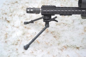 Bipod shown with legs locked in low position.