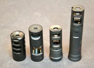 Side view: JEC Customs (left), OPS R3E2C (center left), Surefire SOCOM brake (center right), and Surefire 762SSAL/RE (right).