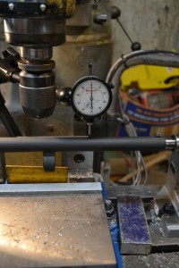 Here is a picture of the dial indicator verifying the barrel is parallel to the mills bed.