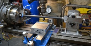 A view of the indexing set up.  The rotary table indexes the barrel against the tailstock.