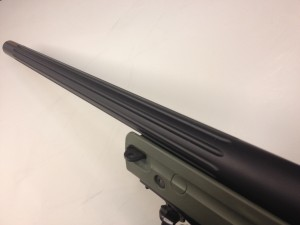 "A Bartlein barrel with 10- 3/16"" flutes coated in graphite black Cerakote."