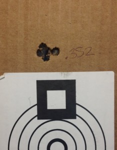 """I would say this rifle shoots well even when fire forming. This was my best 5-shot group of the day, .352"""". 69 SMK on top of Reloader 15 in a Lapua case. 100 yards, 20F with 25MPH no value gusts."""