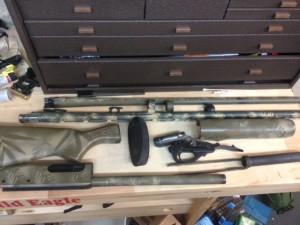 The disassembled 20-Gauge Remington 870 Express.