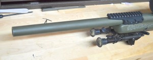 Here is the business end of the customized Remington 700 rifle that we will be working on.  Before handling the rifle, I ensure that it is safe and empty.