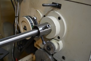 The muzzle end of the barrel is secured in a spider on the back end of the spindle.