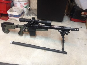 This is what the rifle looks assembled.  That is a 243 barrel in the front.