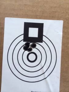 "Best group of the day!  Virgin Norma brass, WLR primer, H1000 powder and 208 A-Max.  .402"" at 100 yards."