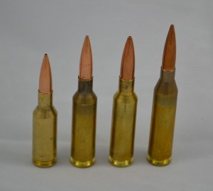 Left to right, 6mm BR, 6x47 Lapua, 6.5x47 Lapua and 243 Winchester.