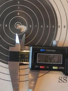 """BAT VR 6x47 Lapua with 108 Berger BTs.  5-shots .451""""."""