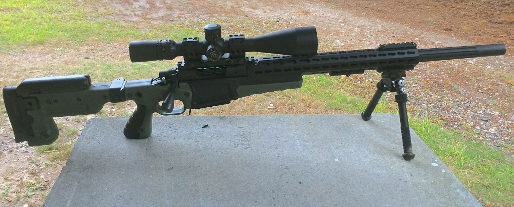 Side view.  6x47 Lapua equipped with an AICS AX 2.0 Chassis, Nightforce F1 3.5-15x50mm scope.