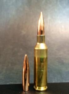 108-grain Berger BTHP (left) and loaded 6x47 Lapua cartridge (right).