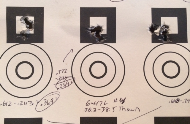 "6x47 Lapua with a 108-grain Berger BT. 5-shot groups sizes are (left to right) .369"", .289"" and .405"". Average size of .354"" or .338 MOA. Target distance was 100 yards."
