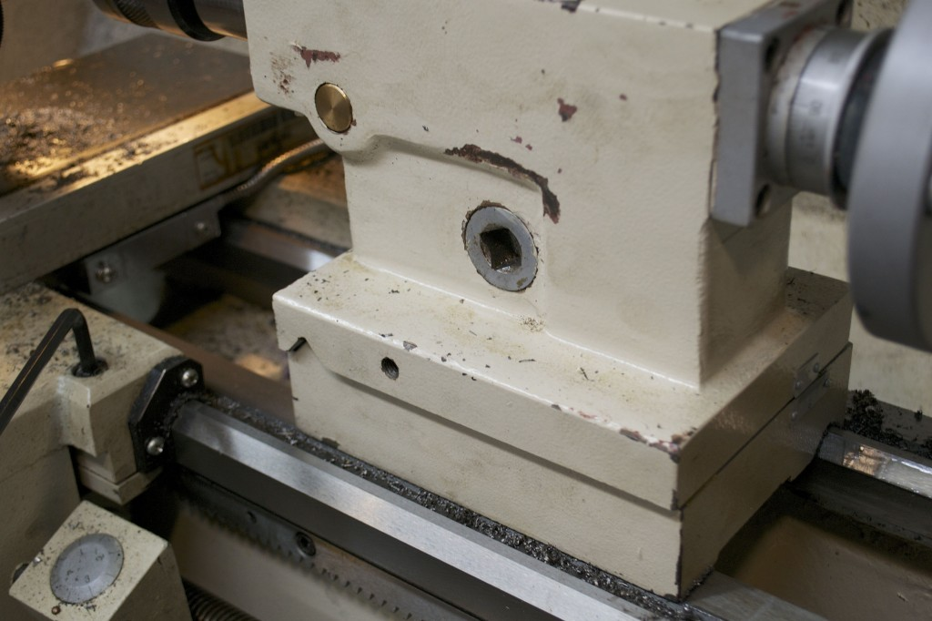 Note the side of the tailstock is now off center.