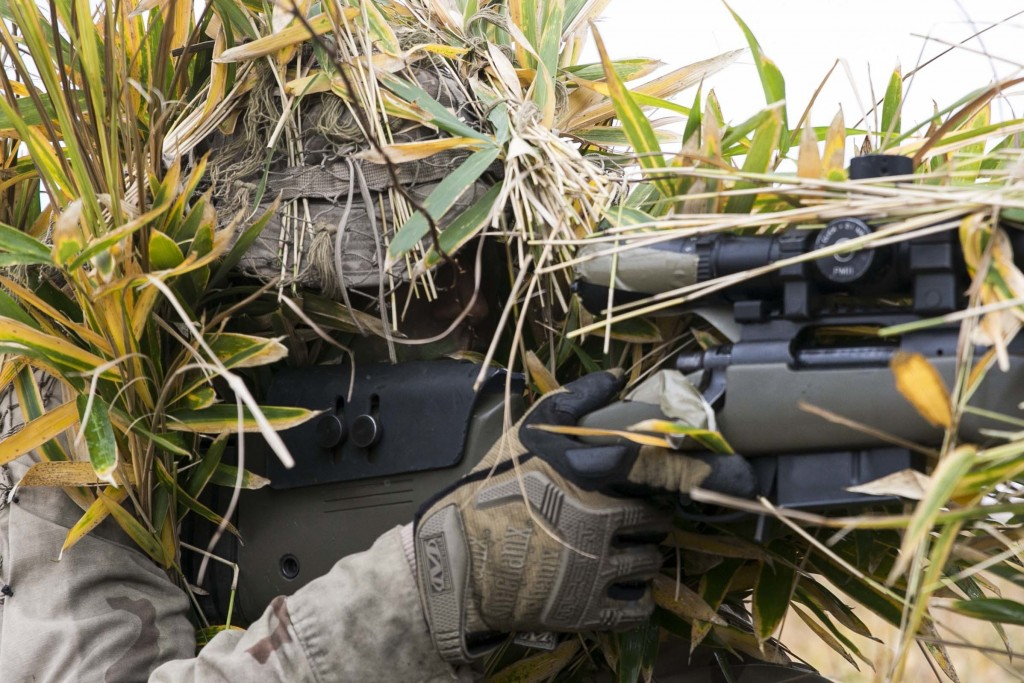 YAMATO, Kumamoto, Japan - U.S. Marine Lance Cpl. Jonas G. Dewald demonstrates the effectiveness of a ghillie suit Dec. 2 in the Oyanohara Training Area in Yamato, Kumamoto prefecture, Japan. The concealment training was part of Forest Light 15-1, a semi-annual, bilateral exercise consisting of a command post exercise and field training events conducted by elements of III Marine Expeditionary Force and the Japan Ground Self-Defense Force to enhance the U.S. and Japan military partnership, solidify regional security agreements and improve individual and unit-level skills. Dewald, from Wilson, North Carolina, is a machine gunner with Weapons Company, 2nd Battalion, 9th Marine Regiment, currently attached to 4th Marine Regiment, 3rd Marine Division, III MEF, under the unit deployment program.