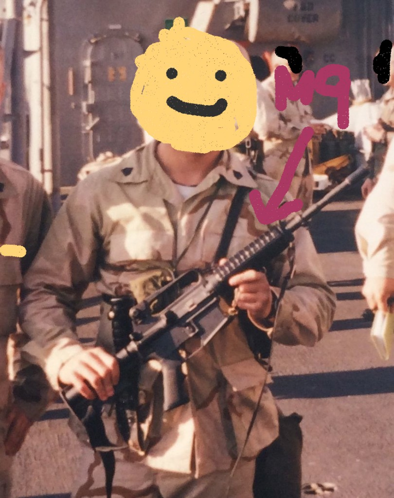 Here I am the second time in the mid east.  Note the smile on my face thinking about my Colt 1911, white thermal shirt ( Sergeant Majors don't like this) and my trusty M9 in the shoulder rig.