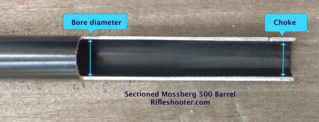sectioned mossberg 500 barrel w labels