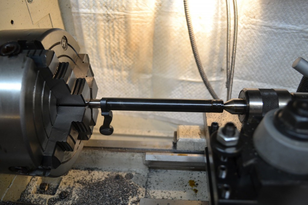 bolt mounted on lathe