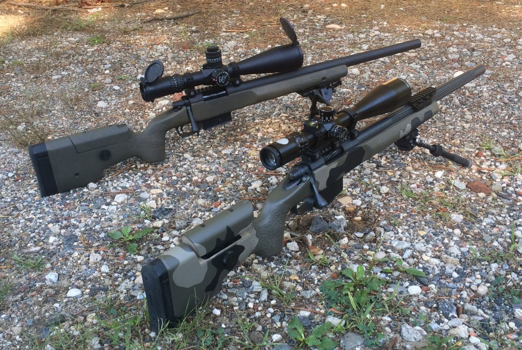 Two 6.5 mm custom rifles. The top rifle is chambered in 6.5 Creedmoor, the bottom rifle is chambered in 6.5x47 Lapua. The availability of high quality Lapua brass is often cites as the reason for a reloader to select the Lapua cartridge over the Creedmoor.