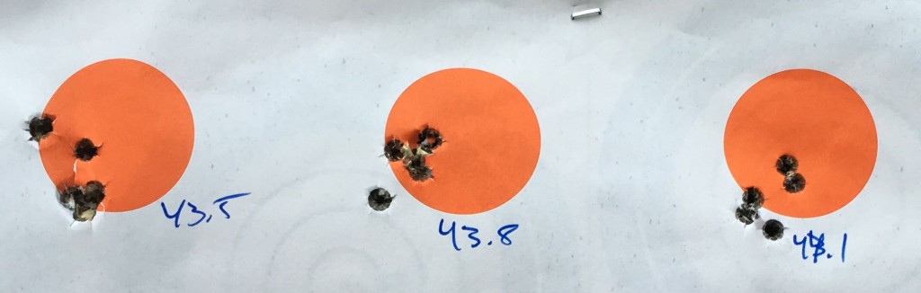 IMR 4064 43.5 to 44.1 grain groups at 100