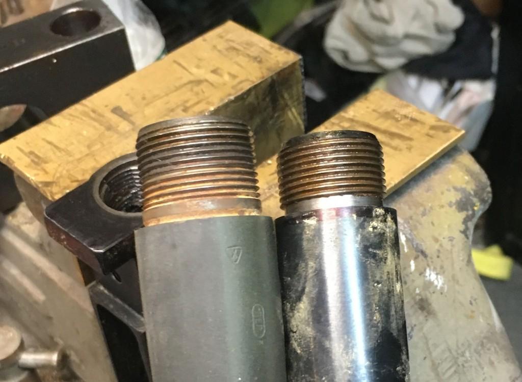 Remington barrel tenon next to Winchester barrel tenon