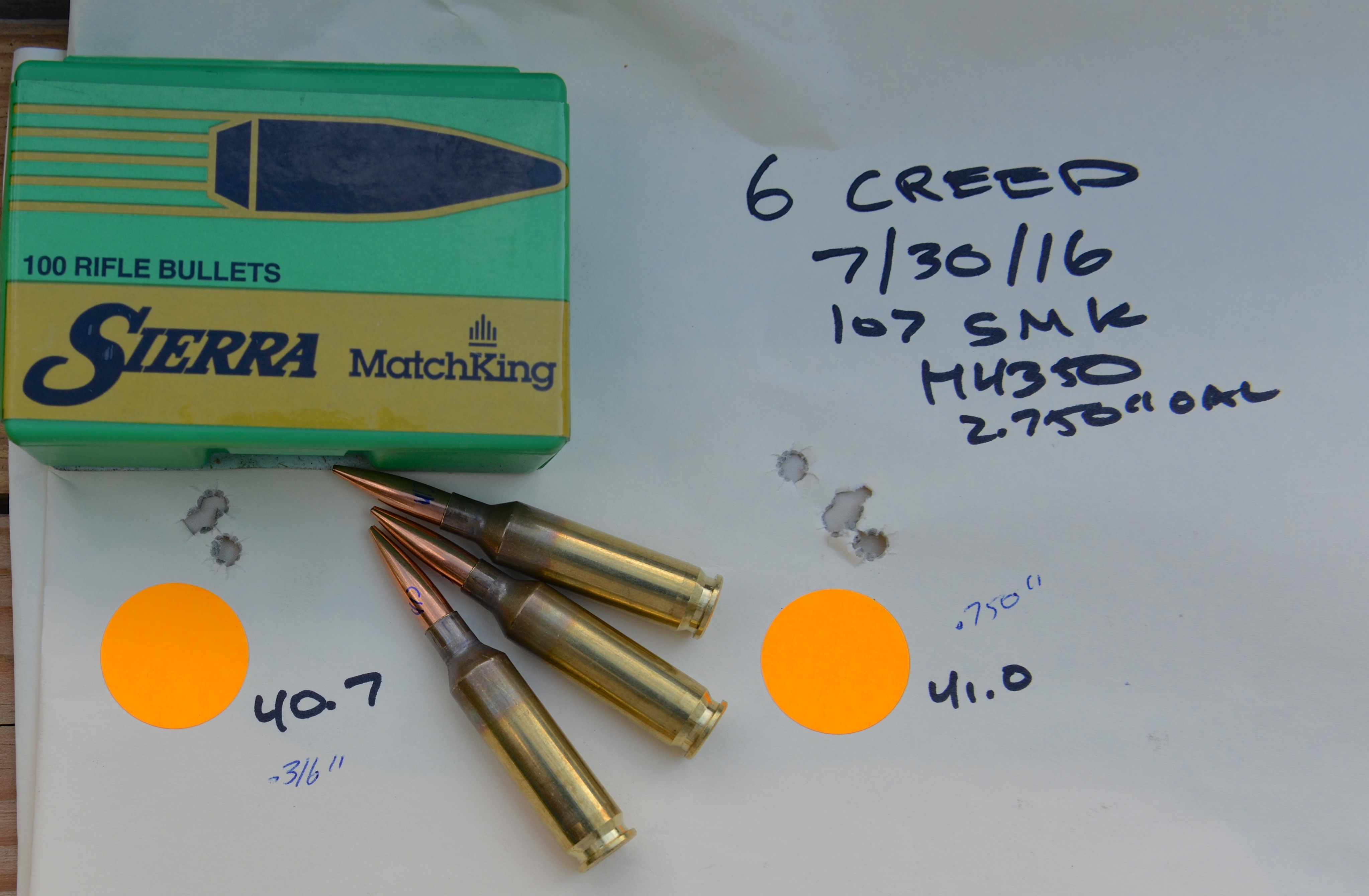 6 CREED 107 GROUP WITH BOX OF BULLETS